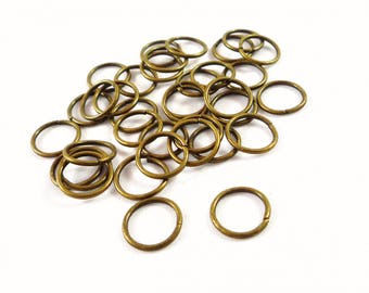 50 large open rings, bronze, 10 mm (AP8)