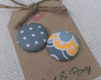 Gray and Yellow Needle Minder- 2 Piece Reversible Scout & Remy, for Cross Stitch, Sewing, Embroidery, Quilting