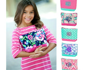 Monogrammed Cosmetic Bag Personalized Embroidered Girls Makeup Zip Pouch Acessory Toiletry Travel Bridesmaid Gift Paisley Mint Pink Dot Boho