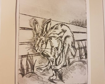 """Drypoint printed by hand """"Running Home"""" black on white, acid free paper"""