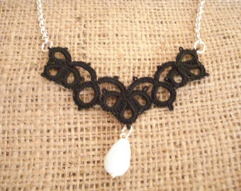 Black lace necklace, Tatting lace necklace, Needle tatting jewelry, Birthday gift, Frivolite necklace, Lace necklace, For her, Xmas gift.
