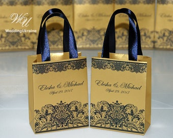 Mehndi Party Bags : Gold wedding gift bags for small souvenirs personalized