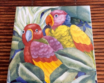 SALE...Vintage Ceramic Parrot Tile, Bird Tile, Coastal, Beach, Tropical, Cottage, Kitchen, Bathroom, Outdoor Tile