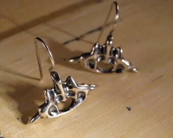 Sterling Silver Dangle Earring // Bone Spine Inspired Jewelry