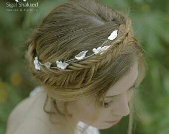 Silver Wedding Crown, Wedding Headpiece, Silver Bridal Tiara, Bridal Headpiece, Silver Hair accessories, Pearl wreath, Wedding Headband,