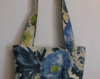 Flowers Floral Mini Tote Bag, Japanese Inspired, Water Colors, Water Colours, Yellow Cream Blue Green, Home Dec Fabric, Fashionista Boutique