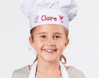 Personalized Pink Hearts Youth Chef Hat, white, dress up, pretend play, kids, gift, kitchen, baking, costume, polyester -gfy899958