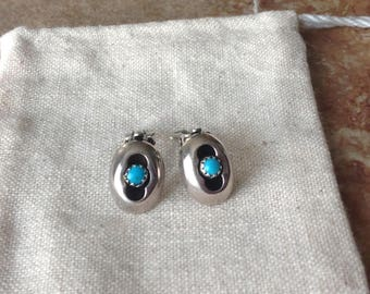 1960s Turquoise Shadow Box Sterling Petite Clip Earrings, (15mm) Navajo, First Nations, Native American, Southwestern (1.5cm x 1.2cm)