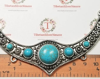 1 pc per pack 114x34mm Turquoise Festoon center piece Pendant Antique Silver Lead Free Pewter