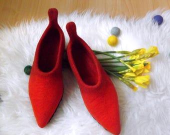 Felt woollen Slippers for women, ready to be shipped, size UK 5 - EU 38