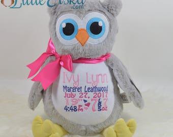 Personalized Owl, Birth Stats Owl, Name Owl, Embroidered Owl, Keepsake Owl, Memorial Owl, Grey Owl Stuffie, Baby Owl, Owl,w Little Elska