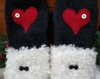 Warm Cozy 100% Upcycled Reclaimed Wool Sweater Mittens Charcoal Grey Red Heart Soft White Faux Fur Cuff Sparkle Bow Buttons