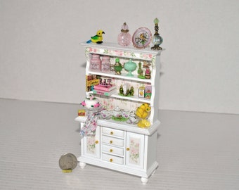 Dollhouse Miniatures Artisan Made Decoupage Kitchen Hutch Cabinet Filled with Miniature Kitchen Accessories  1:12th Scale