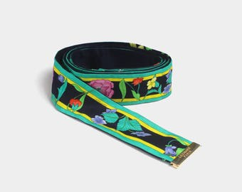 Vintage 90s LEONARD Belt / Authentic Designer Floral Print Silk Sash Tie Belt