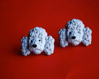Gray Dog Earrings -- Studs, Gray Poodles, Silver