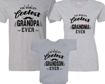 The World's Coolest Grandpa - Grandma and Grandson Ever - HEATHER Matching Shirt Set