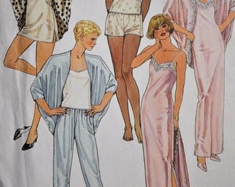 1980's Lingerie Pattern - Size 10-12- Camisole, Tunic, Gown and Cocoon Jacket - UNCUT - McCall's 4608