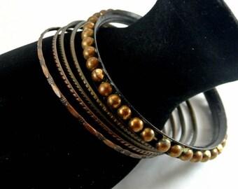 "Five Bronze Metal Bangle Bracelet Four Skinny Bronze Bangles One 3/8"" Wide Bangle Vintage 60 Bangles Five Bronze Bangles"