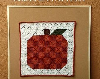 CROCHET PATTERN - Pumpkin Pixel Art, Crochet Fall Decor, Crochet Fall Wall Art, Crochet Granny Square Pumpkin, Crochet Rustic Pumpkin