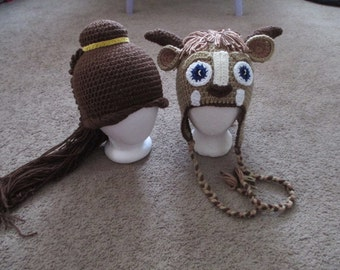 Crochet Inspired Beauty and Beast Hats----Costume-----Photo Prop