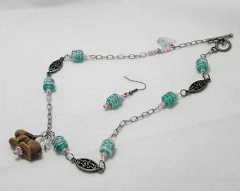 Spring Rabbit and Butterflies Necklace Sets