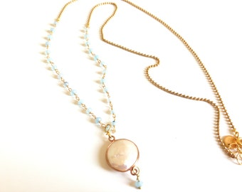 Necklace made with Amazonite and golden brass with a freshwater pearl
