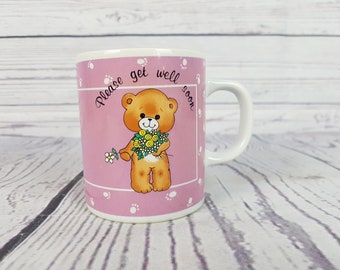 Vintage Teddy Get Well Mug / Get Better Novelty Coffee Cup / Please Get Well Soon / Break Time Drinking Hot Beverages Tea / Wish & Wishes