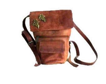 Vintage leather bucketbag / Brown backpack / Festival bag