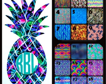 Pineapple Monogram Vinyl Decal Sticker Die Cut Custom Car Window Laptop Tumbler Water Bottle Bumper - You Choose Size and Color