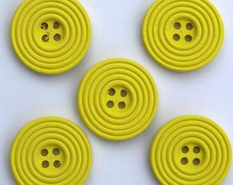 6 x wood Spiral 25 mm buttons: yellow - 02277