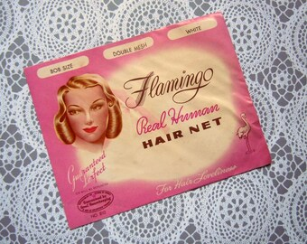 Vintage 1940's Nylon Invisible Hair Net White with Elastic Band