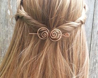 Hair barrette, copper, hair bow, spiral, hair clip. wire, hair pin, shawl pin, scarf pin, brooch, swirly, metal, hair accessories, for her