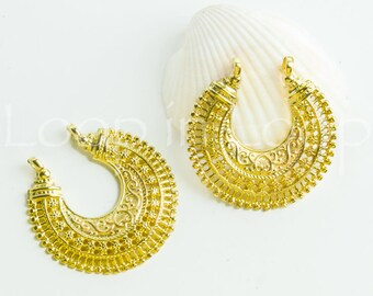 25% OFF Ethnic Pendant boho tribal Filigree Moon Granulated Earring lead free 24k gold plated European quality brass casting 1pc