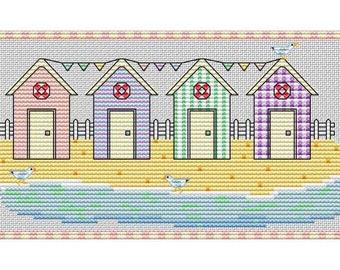 Beach Huts - Cross Stitch Pattern - PDF Digital Download
