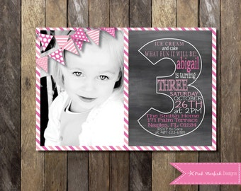 Floral invitation watercolor floral gold and purple girl chalkboard third birthday invitation chalkboard birthday invitation 3rd birthday invitation third birthday invitation chalkboard invite filmwisefo