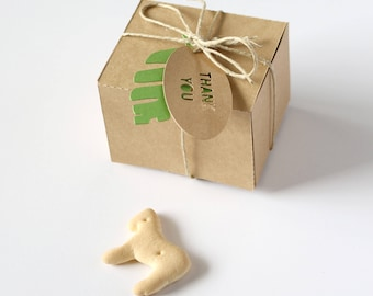 Set of 10 Small Favor Boxes with Gift Tags - 'Thank You' with Leaf - Kraft Paper Folding Box