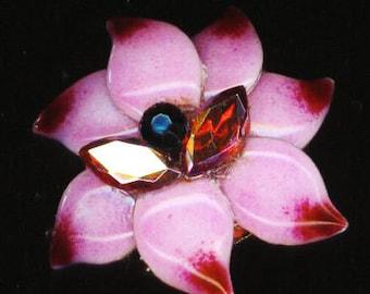 Hot Pink Enameled Flower Ring . Vintage Brass Filligree Ring .Rose Dahlia Petals . Cocktail Ring - Hot Flower by enchantedbeas on Etsy