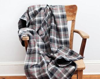 Black Throw Blanket, Black Gray, Throw Blanket, Plaid Throw Blanket, Gift for Him, Flannel Blanket, Linen Blanket,