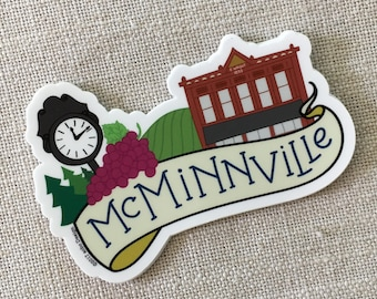 McMinnville Oregon Vinyl Sticker, Oregon Travel Sticker, Laptop Sticker, Water Bottle Sticker, Waterproof Vinyl Sticker, Illustrated Sticker