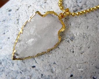 "White Crystal Quartz Arrowhead necklace - arrowhead pendant  ""Artemis"""
