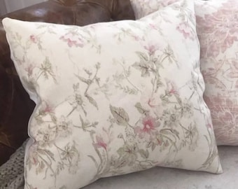 Shabby Chic Floral Linen Pillow Cover Farmhouse Cottage Style Rachel Ashwell Chablis Fabric