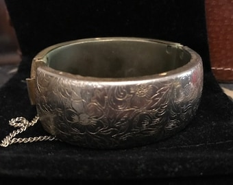 Empire Made Gold Plated Etched Cuff Bangle.
