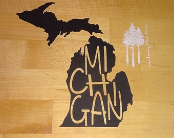 The Michigan: paper cutout, silhouette, framed, art, lettering, state, modern