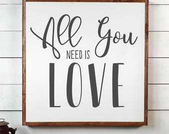 All You Need Is Love Sign, FREE SHIPPING, Wedding Gift, Love Sign, Farmhouse Gift, Farmhouse Sign,Farmhouse Decor,White Wooden Sign PS1002