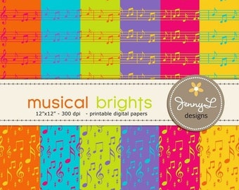 50% OFF Musical Notes Digital Papers in Bright Colors for Digital Scrapbooking, Invitations and more