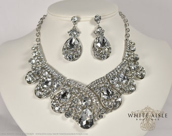 Bridal Jewelry Set, Crystal Statement Necklace Earrings, Vintage Inspired Rhinestone Necklace, Wedding Jewelry
