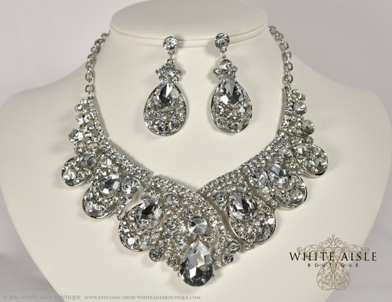 Bridal Jewelry Set Crystal Statement Necklace Earrings