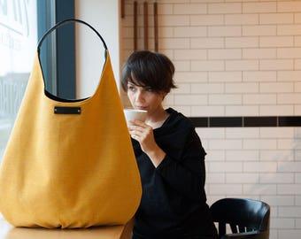 shoulder hobo bag, zipper hobo bag, yellow handbag, slouch hobo bag, canvas bag, boho bag, casual bag, hippie bag, sack bag, natural leather
