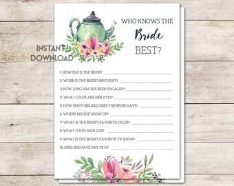 Who Knows Bride Best Game, Bridal Shower Game, Bridal Shower Tea Party, Wedding Shower, Tea Party Floral, Tea Pot, Printable No. 1018