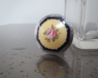 Antique Vintage Sterling Silver Floral Guilloche Enamel Perfume Bottle